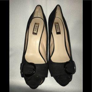 Zara Black  Toe Heels Stiletto with buckle Size 8